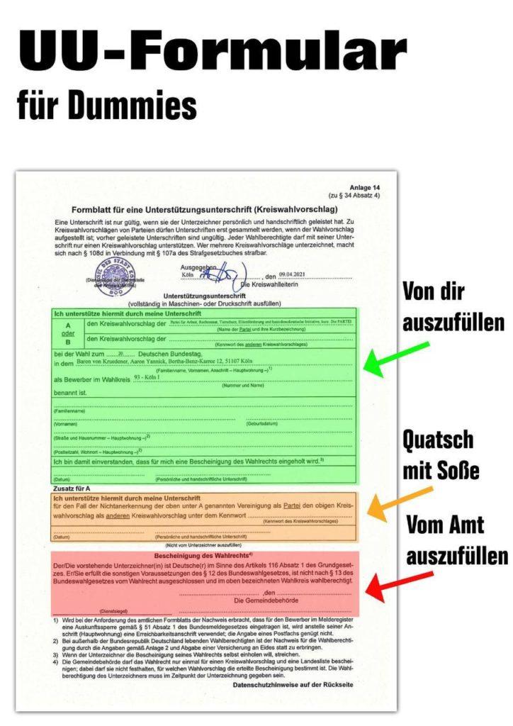 UU-Formular für Dummies